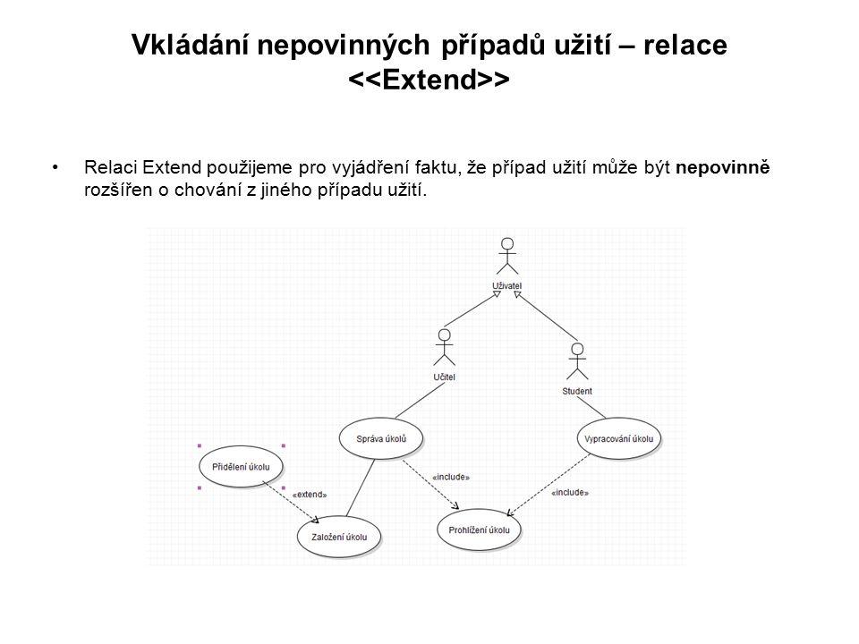 Vkládání nepovinných případů užití – relace <<Extend>>