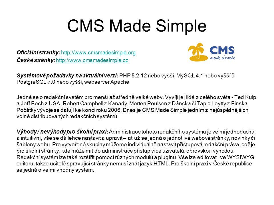 CMS Made Simple Oficiální stránky: http://www.cmsmadesimple.org