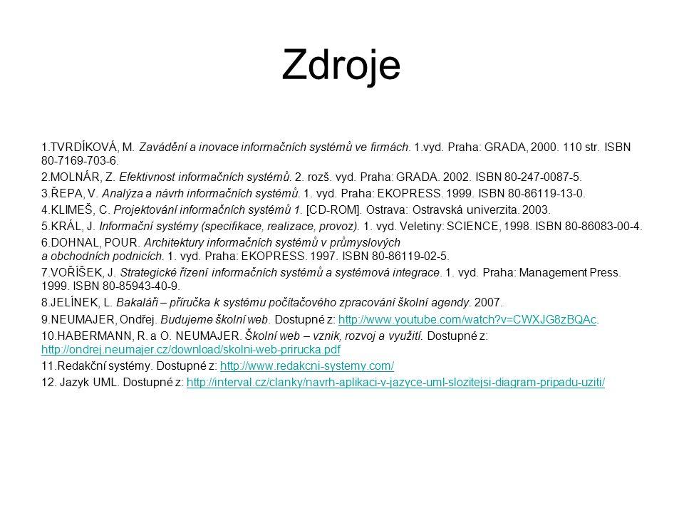 Zdroje TVRDÍKOVÁ, M. Zavádění a inovace informačních systémů ve firmách. 1.vyd. Praha: GRADA, 2000. 110 str. ISBN 80-7169-703-6.