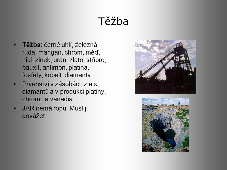 Těžba Těžba: černé uhlí, železná ruda, mangan, chrom, měď, nikl, zinek, uran, zlato, stříbro, bauxit, antimon, platina, fosfáty, kobalt, diamanty.