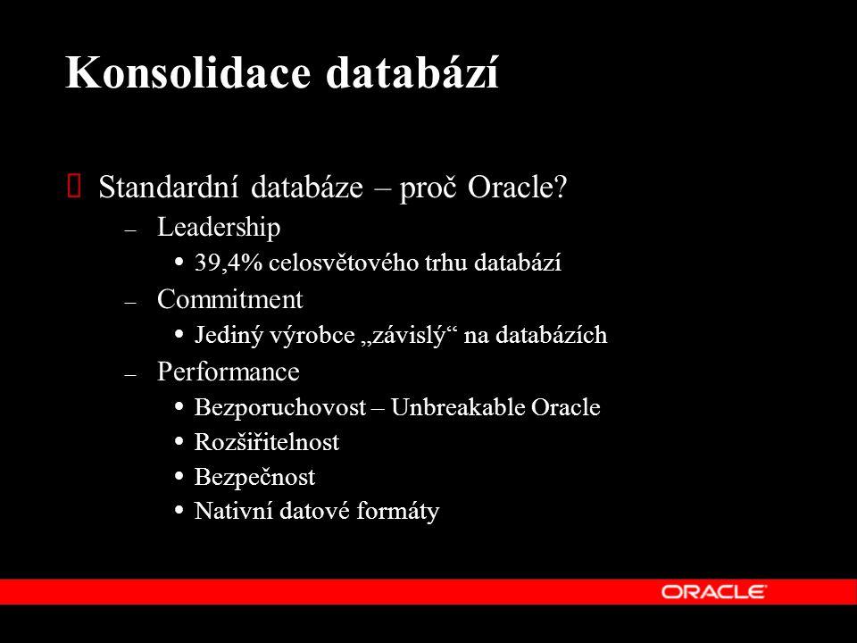 Konsolidace databází Standardní databáze – proč Oracle Leadership