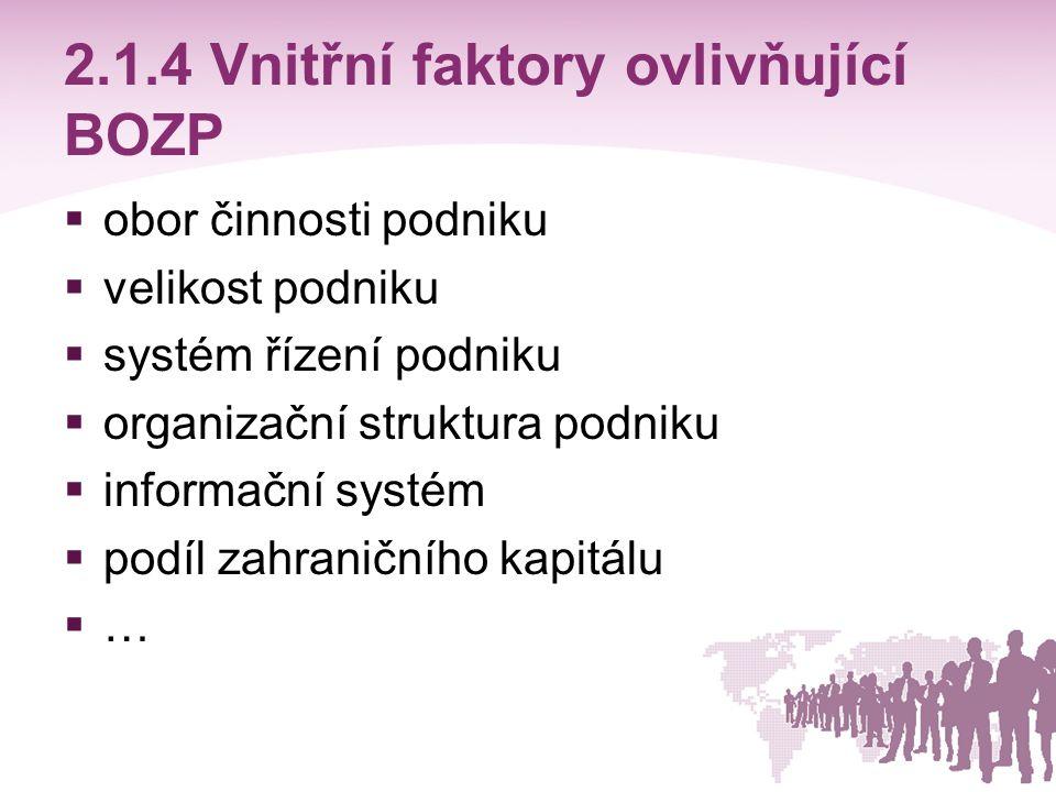 2.1.4 Vnitřní faktory ovlivňující BOZP