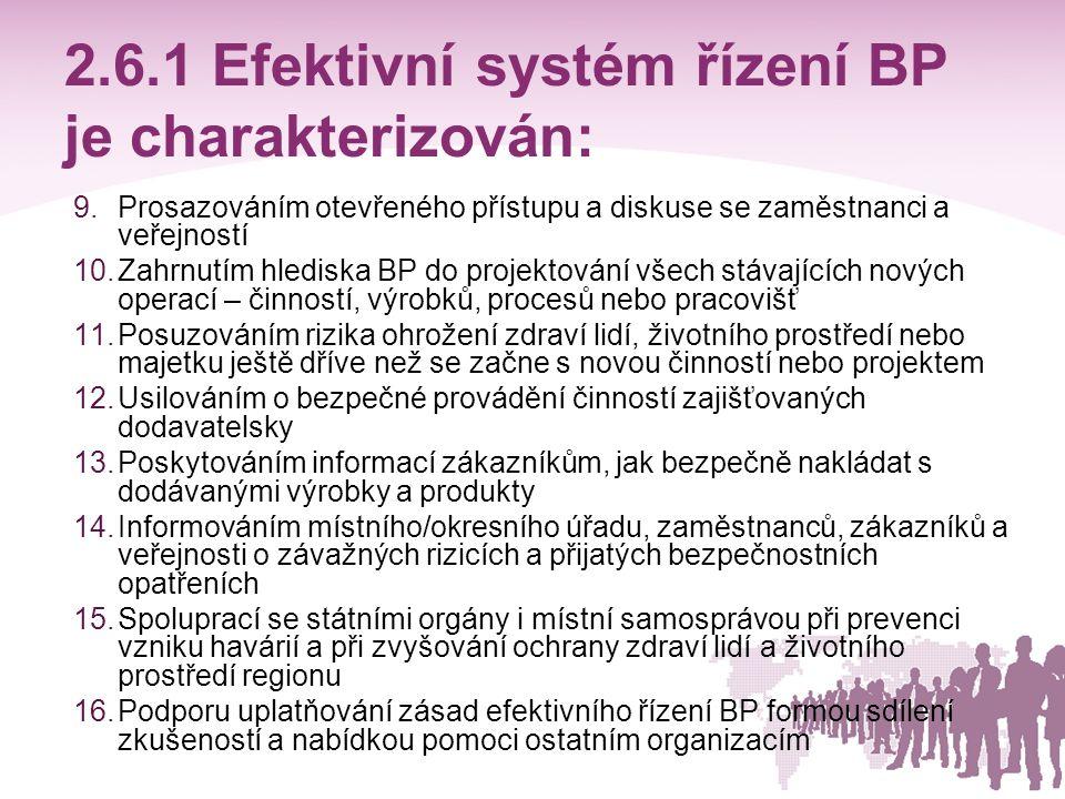 2.6.1 Efektivní systém řízení BP je charakterizován: