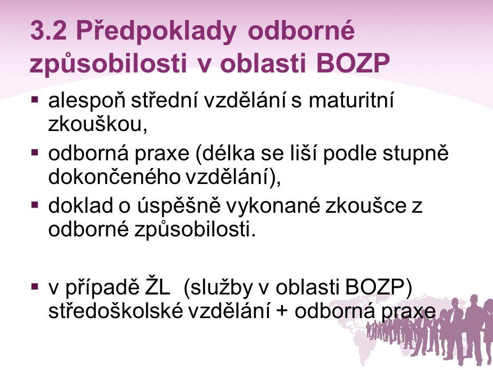 3.2 Předpoklady odborné způsobilosti v oblasti BOZP