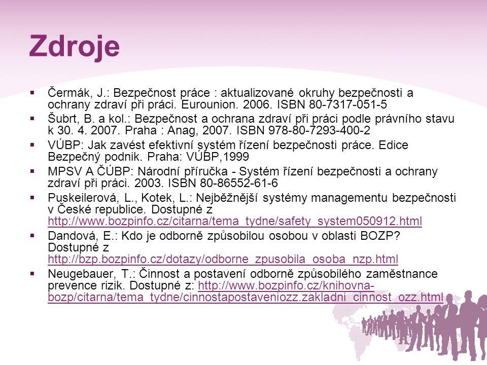 Zdroje Čermák, J.: Bezpečnost práce : aktualizované okruhy bezpečnosti a ochrany zdraví při práci. Eurounion. 2006. ISBN 80-7317-051-5.