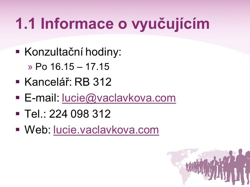 1.1 Informace o vyučujícím