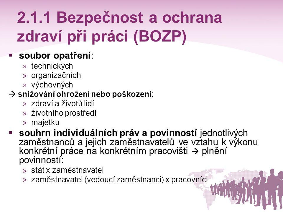2.1.1 Bezpečnost a ochrana zdraví při práci (BOZP)