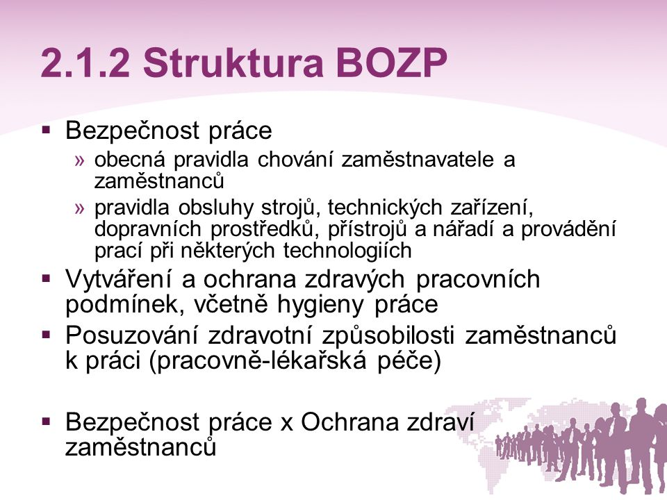 2.1.2 Struktura BOZP Bezpečnost práce
