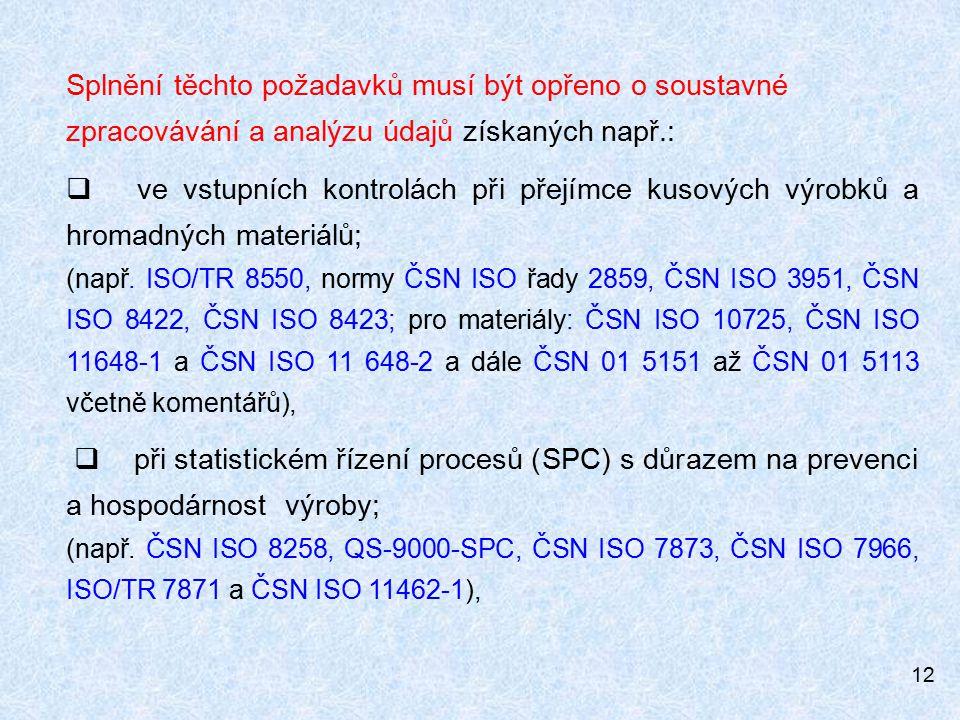 Splnění těchto požadavků musí být opřeno o soustavné zpracovávání a analýzu údajů získaných např.: