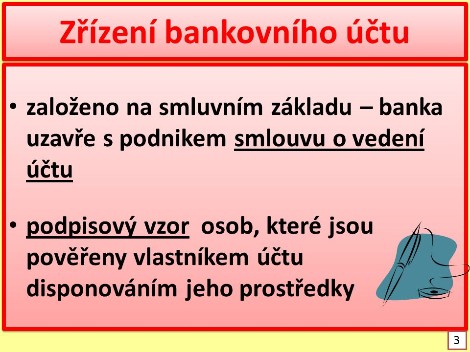 Zřízení bankovního účtu
