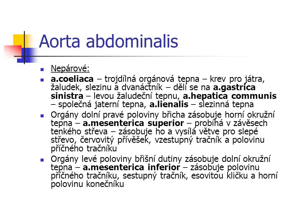 Aorta abdominalis Nepárové: