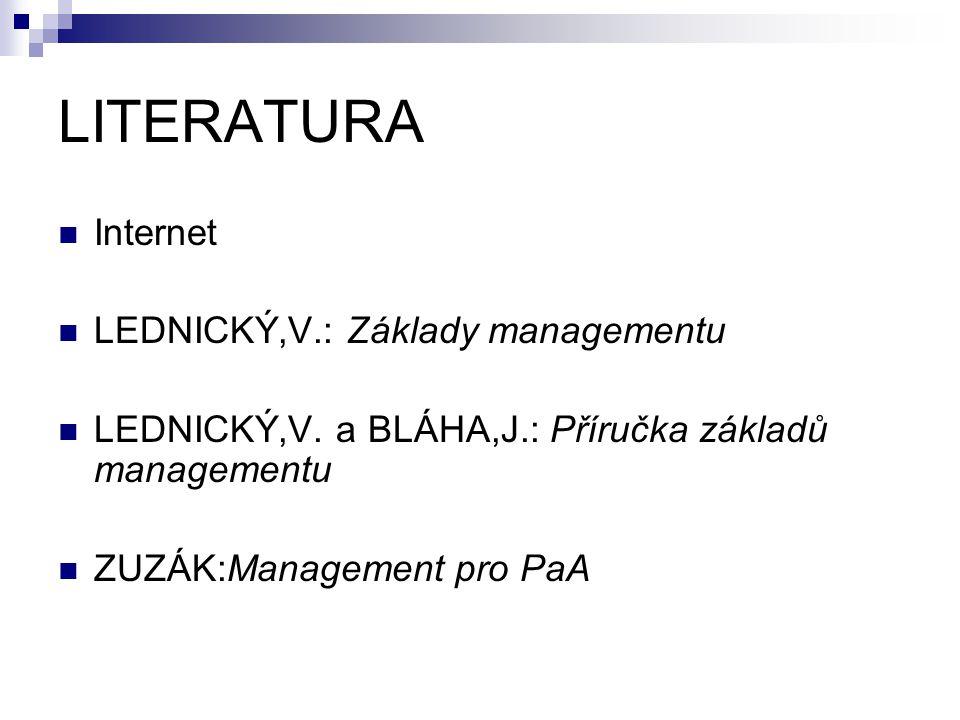 LITERATURA Internet LEDNICKÝ,V.: Základy managementu