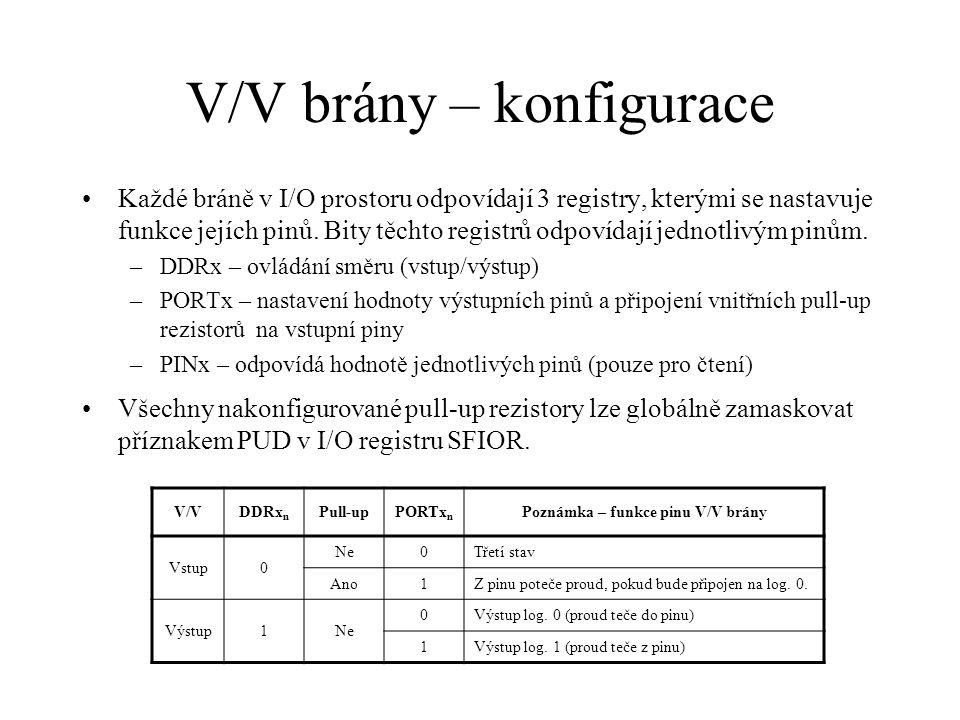 V/V brány – konfigurace