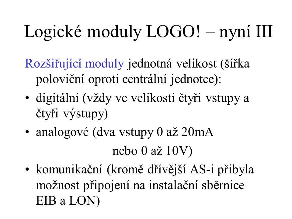 Logické moduly LOGO! – nyní III