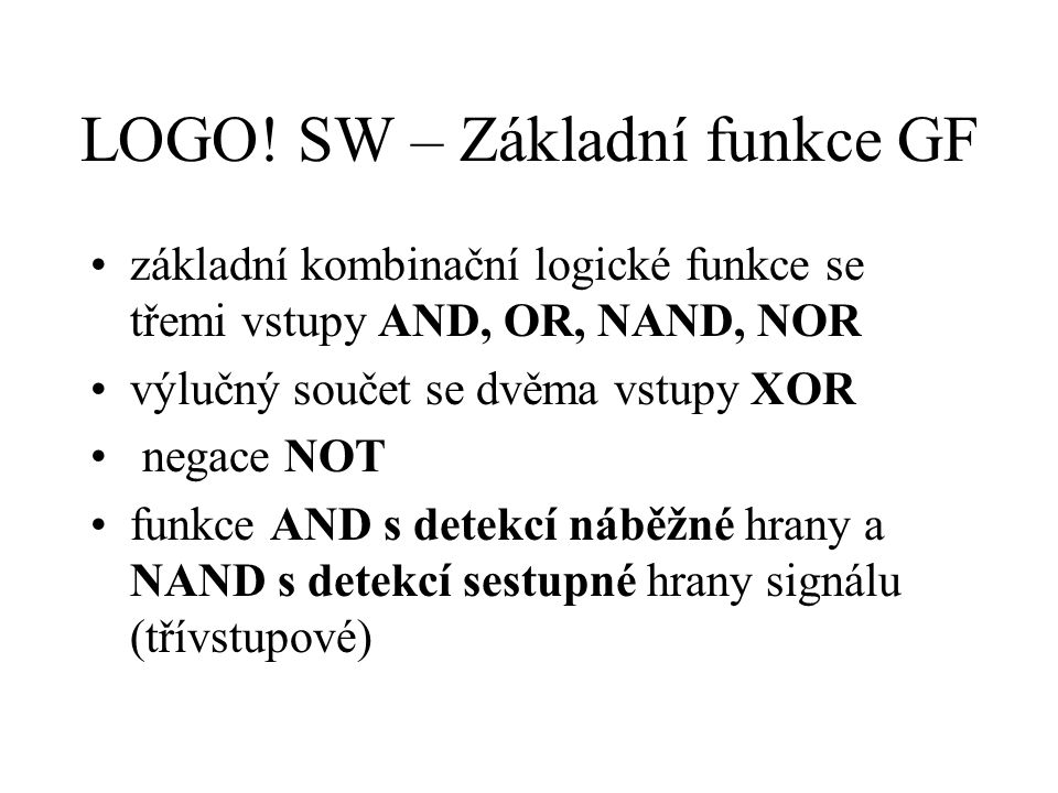 LOGO! SW – Základní funkce GF