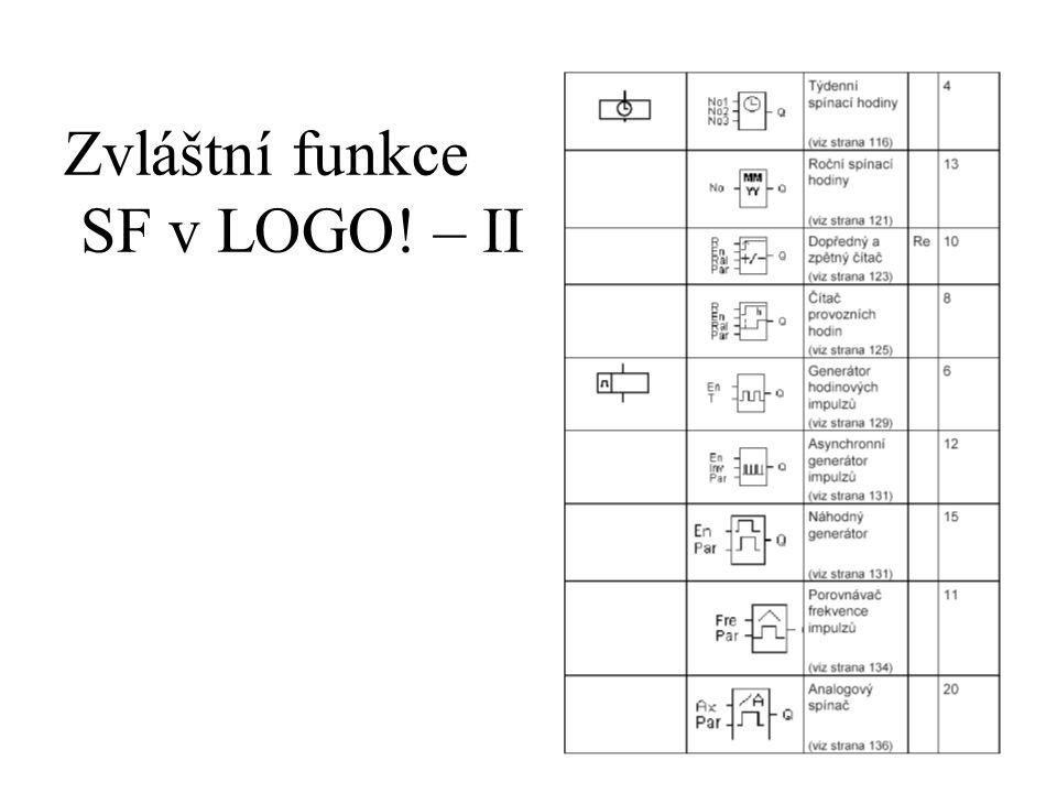 Zvláštní funkce SF v LOGO! – II