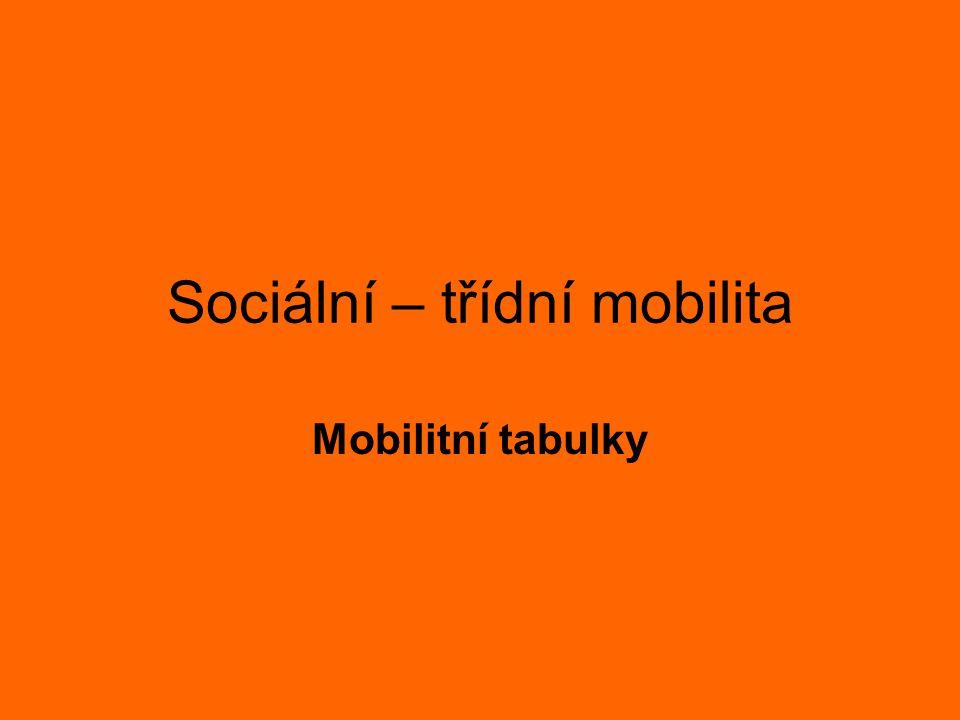 Sociální – třídní mobilita