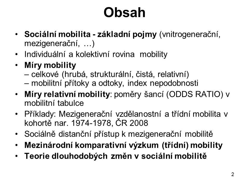 Obsah Sociální mobilita - základní pojmy (vnitrogenerační, mezigenerační, …) Individuální a kolektivní rovina mobility.