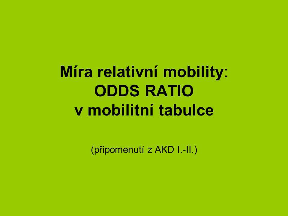 Míra relativní mobility: ODDS RATIO v mobilitní tabulce