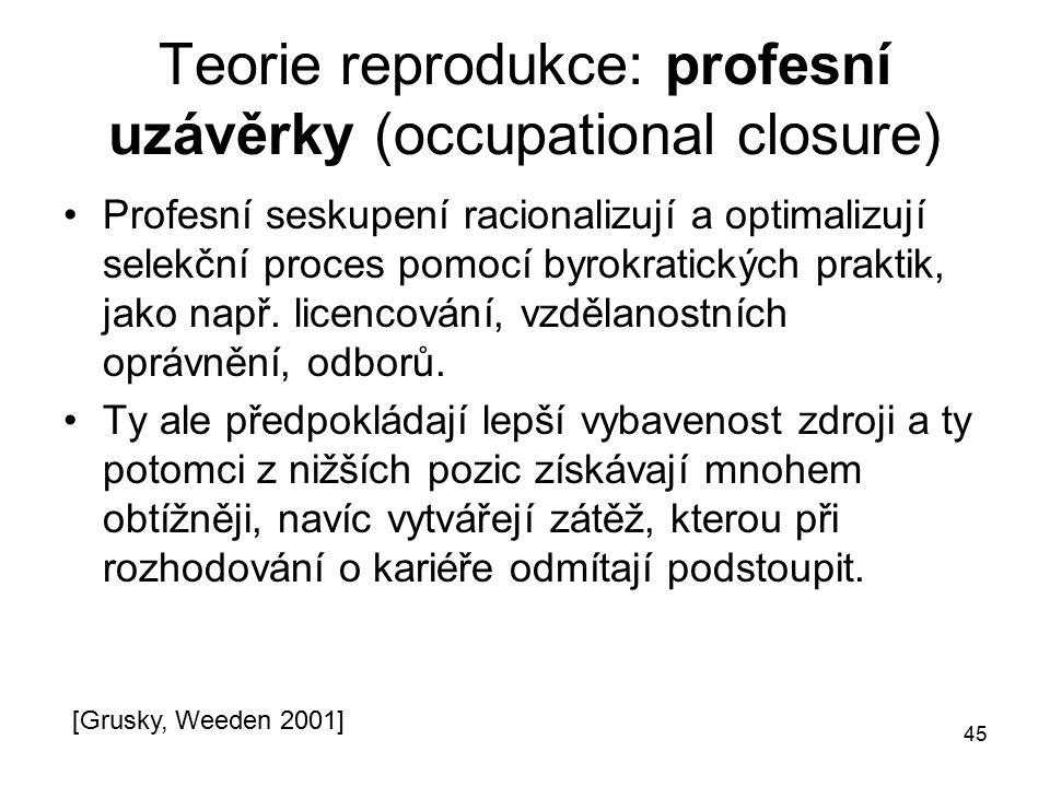 Teorie reprodukce: profesní uzávěrky (occupational closure)