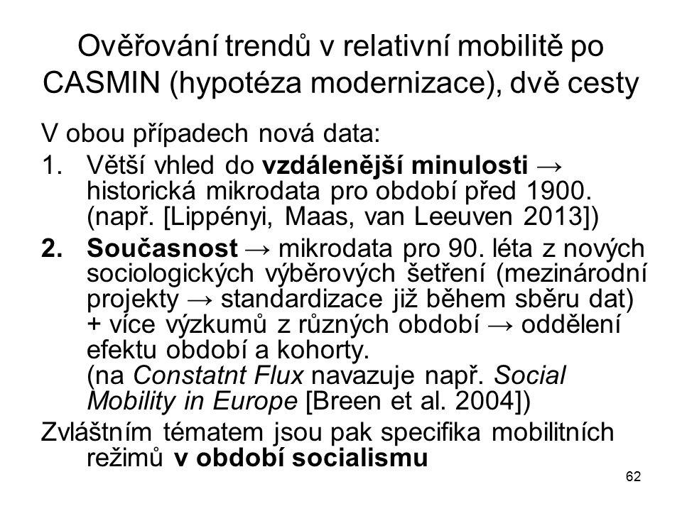 Ověřování trendů v relativní mobilitě po CASMIN (hypotéza modernizace), dvě cesty