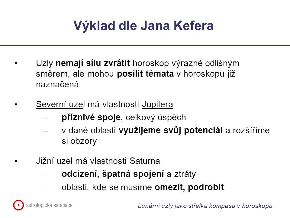 Výklad dle Jana Kefera Uzly nemají sílu zvrátit horoskop výrazně odlišným směrem, ale mohou posílit témata v horoskopu již naznačená.