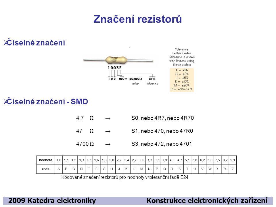 Značení rezistorů Číselné značení Číselné značení - SMD