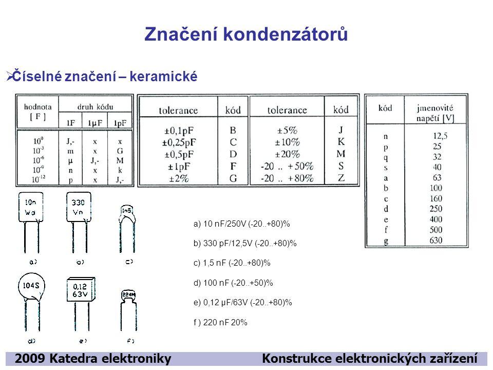 Značení kondenzátorů Číselné značení – keramické