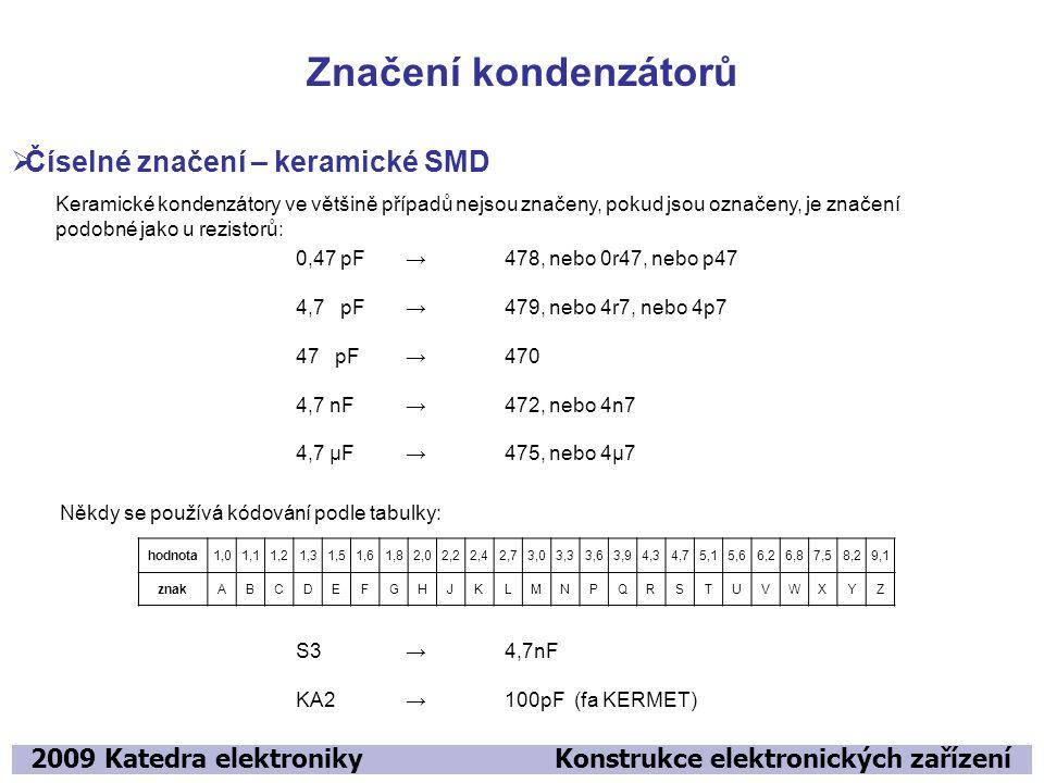 Značení kondenzátorů Číselné značení – keramické SMD