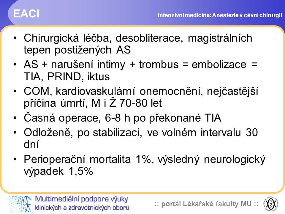 Chirurgická léčba, desobliterace, magistrálních tepen postižených AS