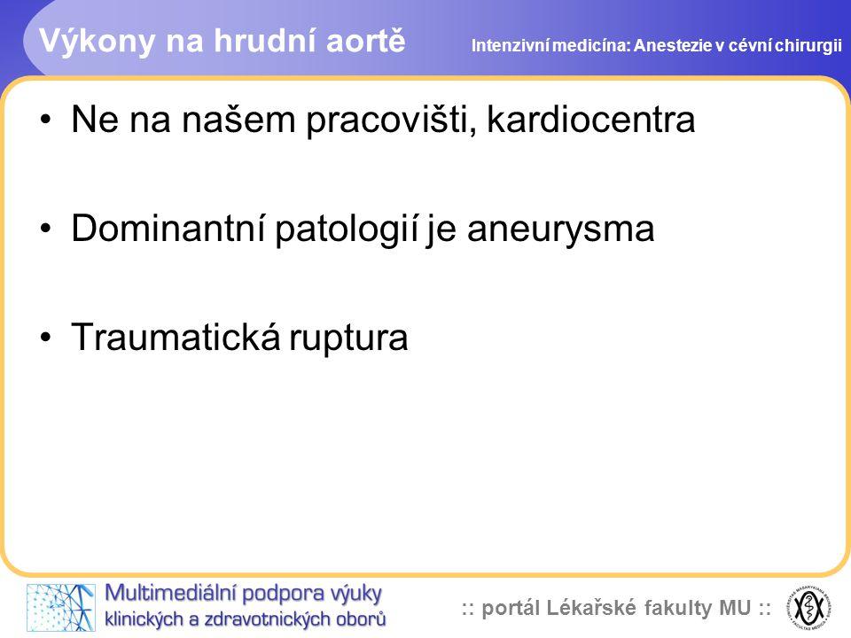 Ne na našem pracovišti, kardiocentra Dominantní patologií je aneurysma