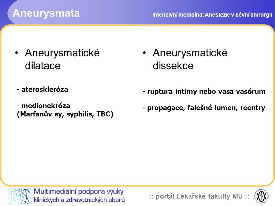 Aneurysmatické dilatace Aneurysmatické dissekce