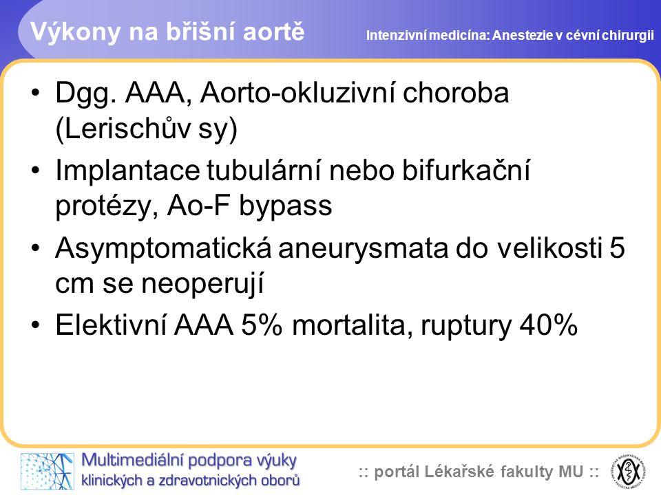 Dgg. AAA, Aorto-okluzivní choroba (Lerischův sy)