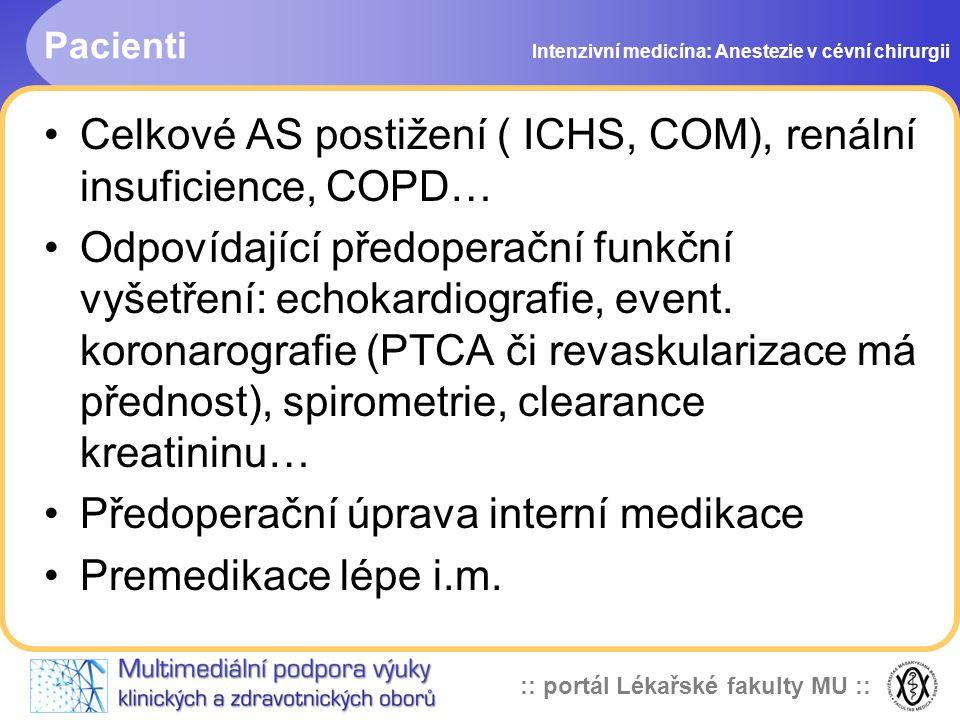 Celkové AS postižení ( ICHS, COM), renální insuficience, COPD…