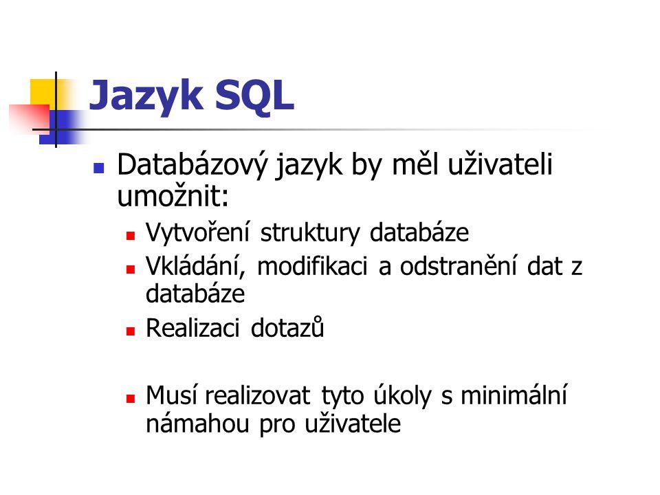 Jazyk SQL Databázový jazyk by měl uživateli umožnit: