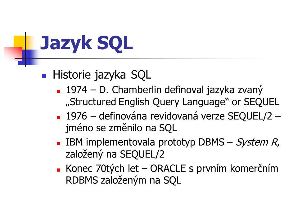 Jazyk SQL Historie jazyka SQL
