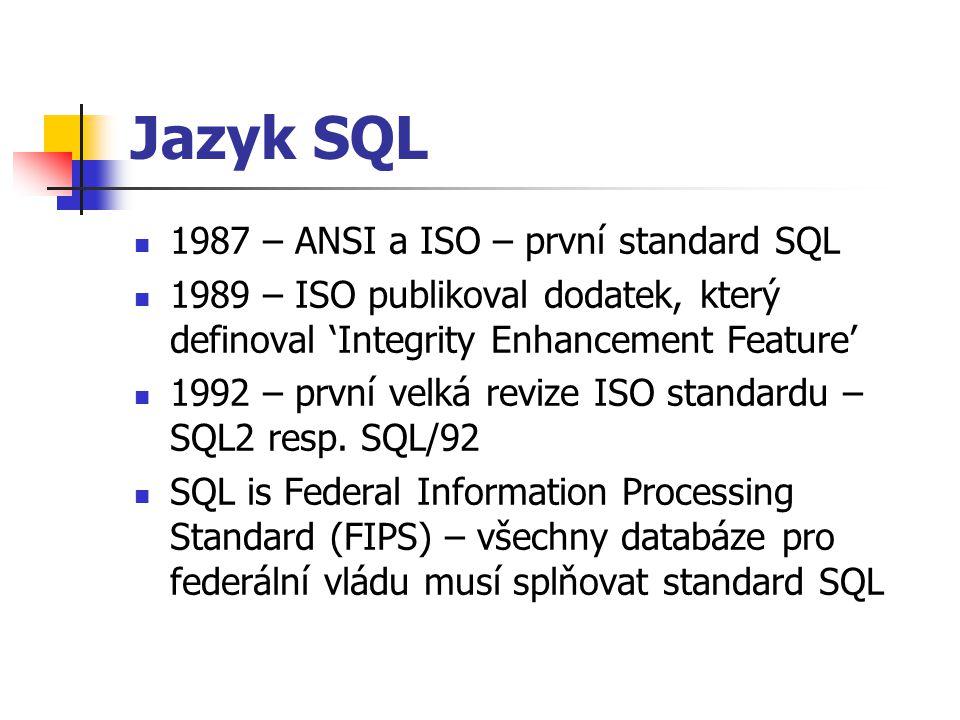 Jazyk SQL 1987 – ANSI a ISO – první standard SQL