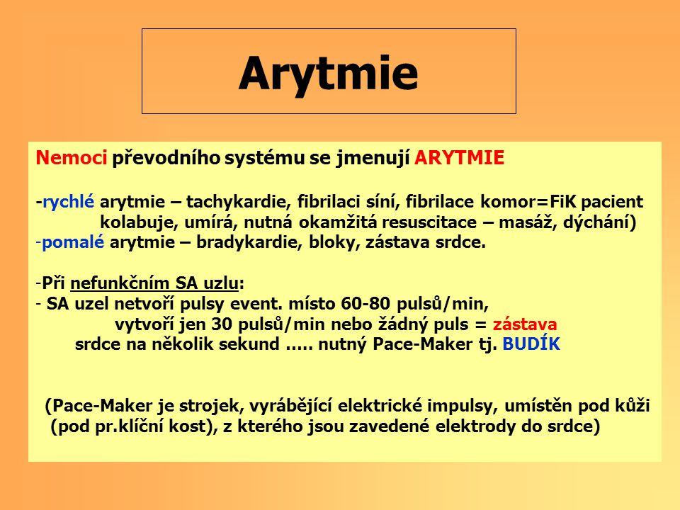 Arytmie Nemoci převodního systému se jmenují ARYTMIE
