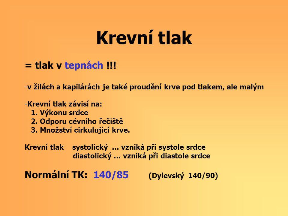 Krevní tlak = tlak v tepnách !!! Normální TK: 140/85 (Dylevský 140/90)