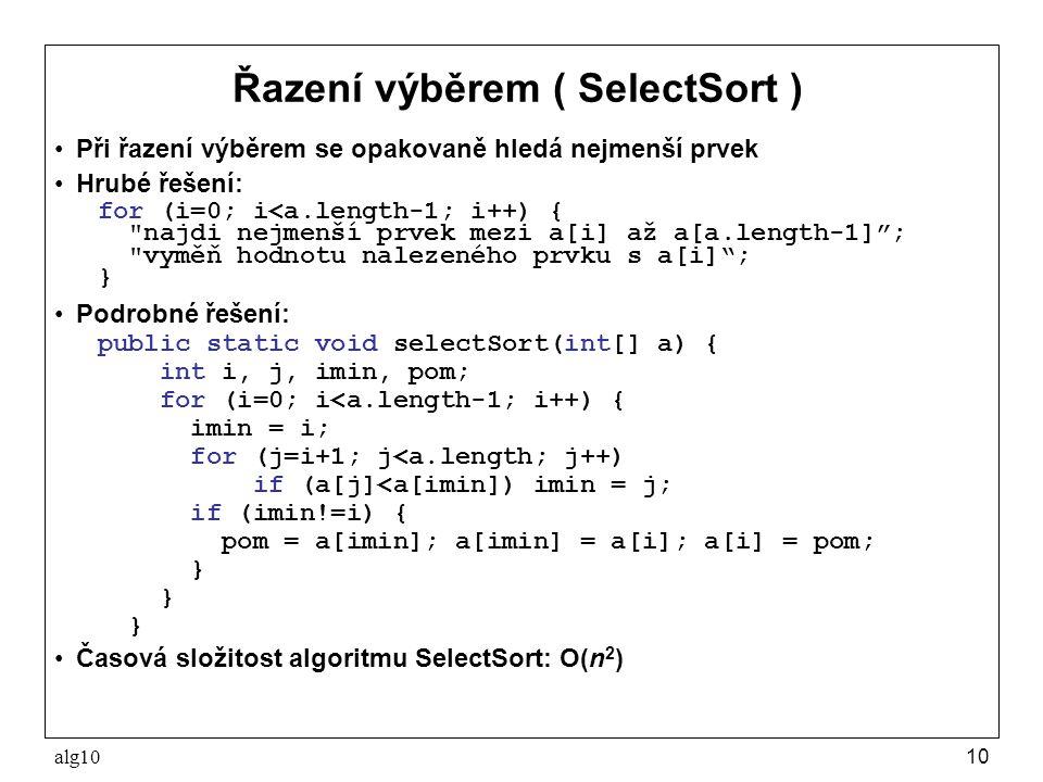 Řazení výběrem ( SelectSort )