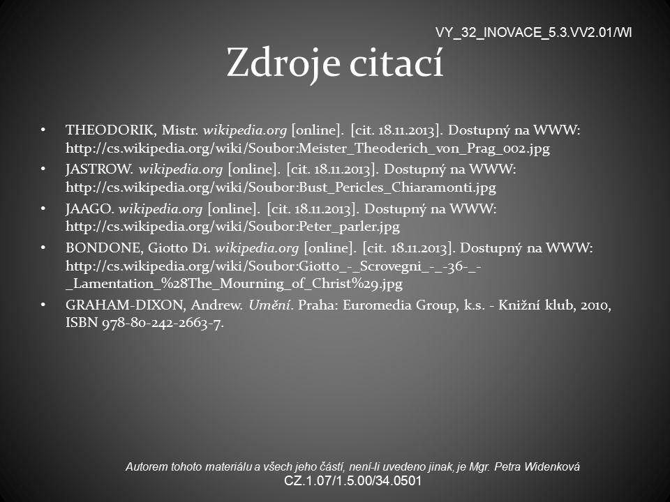 Zdroje citací VY_32_INOVACE_5.3.VV2.01/WI.