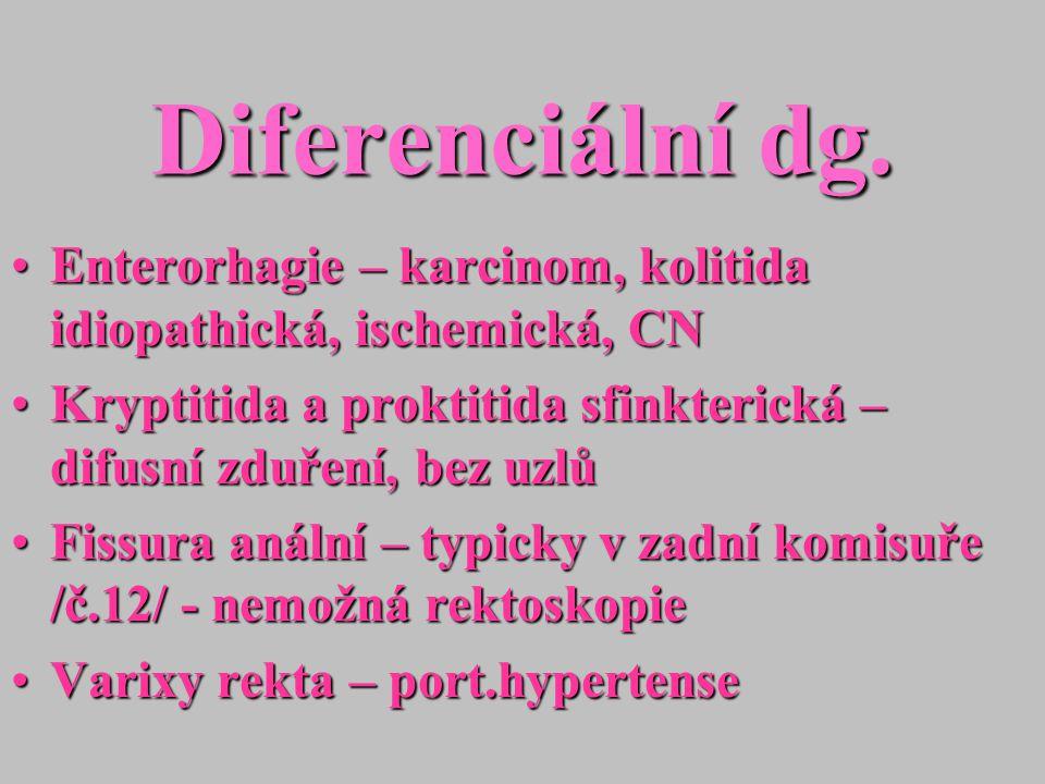 Diferenciální dg. Enterorhagie – karcinom, kolitida idiopathická, ischemická, CN. Kryptitida a proktitida sfinkterická – difusní zduření, bez uzlů.