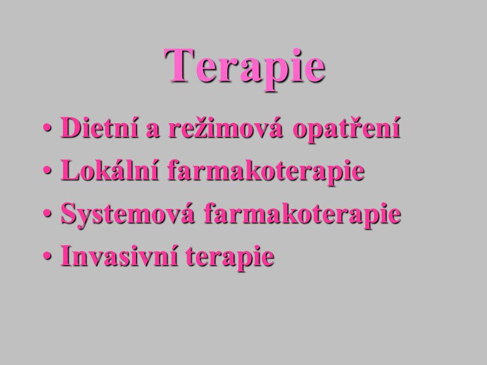 Terapie Dietní a režimová opatření Lokální farmakoterapie