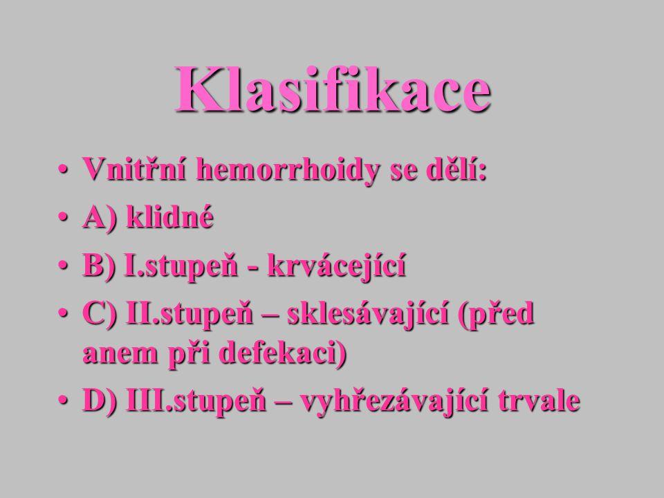 Klasifikace Vnitřní hemorrhoidy se dělí: A) klidné