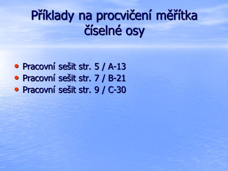 Příklady na procvičení měřítka číselné osy