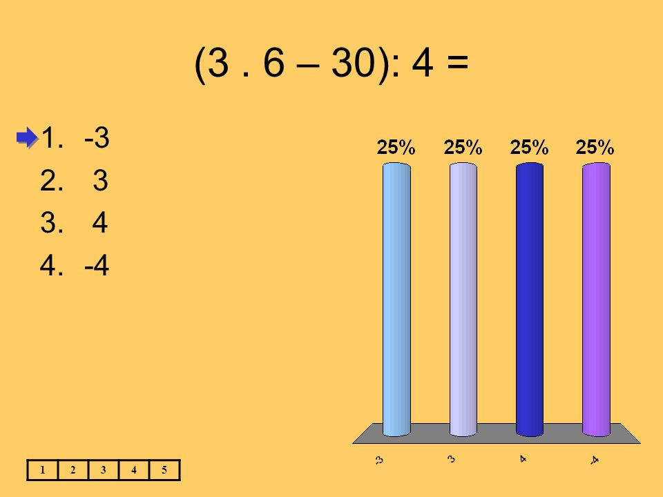 (3 . 6 – 30): 4 = -3 3 4 -4 1 2 3 4 5