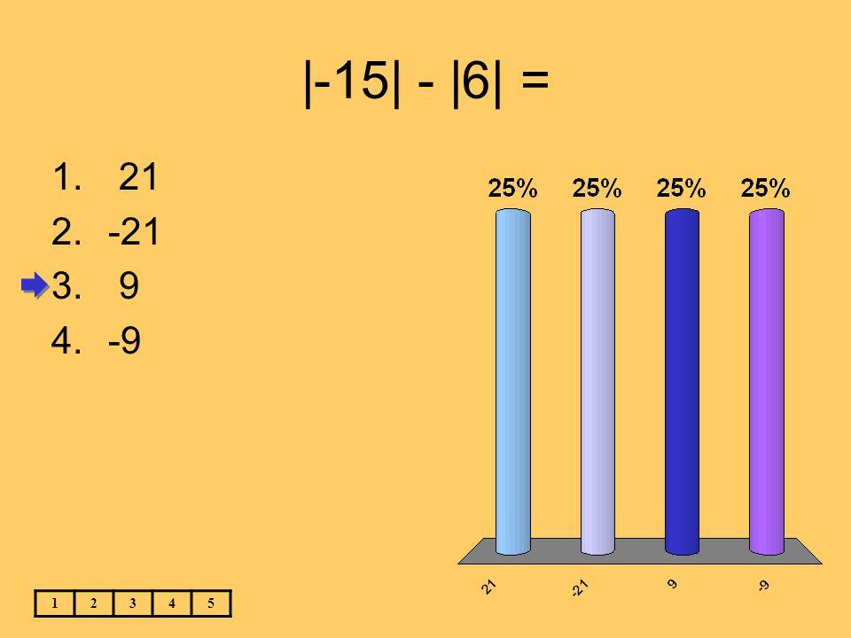 |-15| - |6| = 21 -21 9 -9 1 2 3 4 5