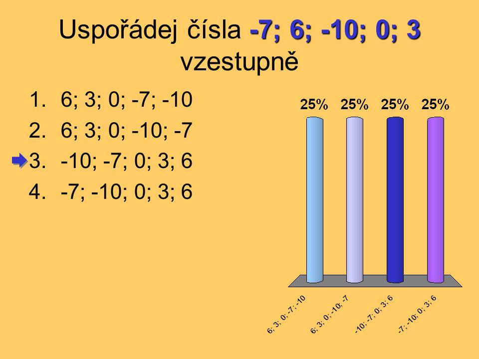 Uspořádej čísla -7; 6; -10; 0; 3 vzestupně