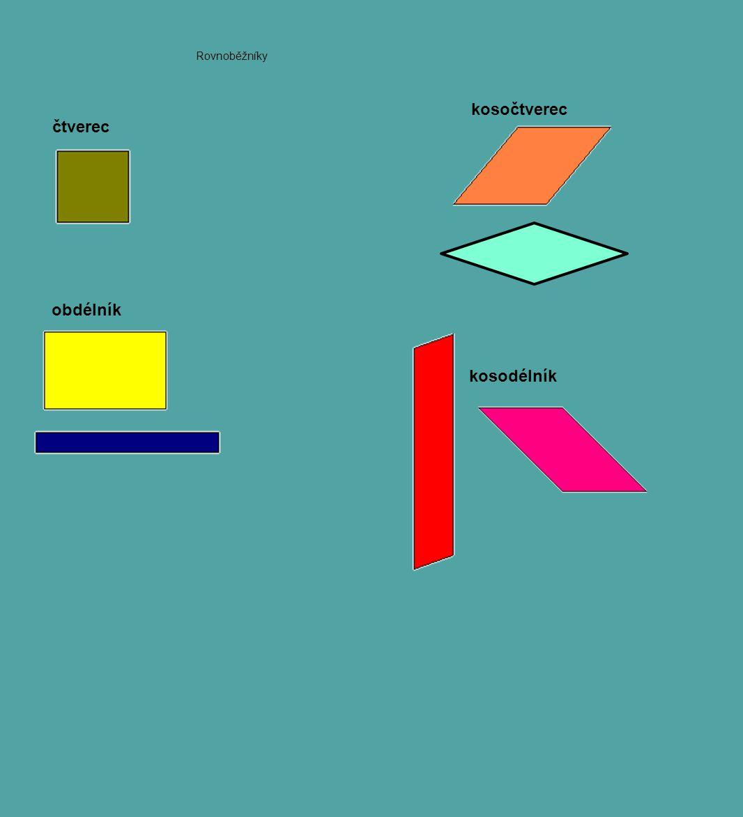 Rovnoběžníky kosočtverec čtverec obdélník kosodélník