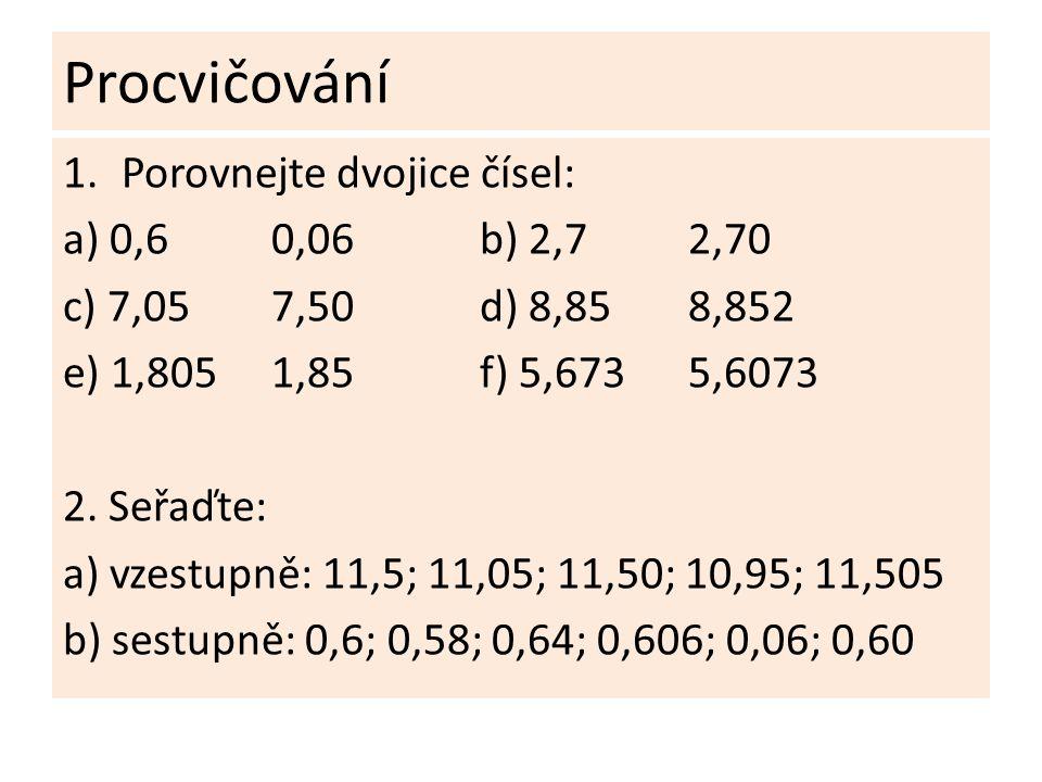 Procvičování Porovnejte dvojice čísel: a) 0,6 0,06 b) 2,7 2,70